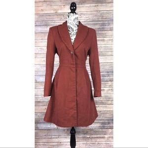 H&M 10 coat peplum pea coat orange burnt elegant